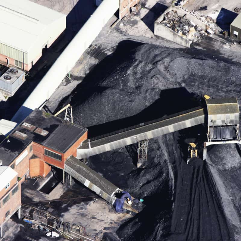 Coal stockpile aerial view