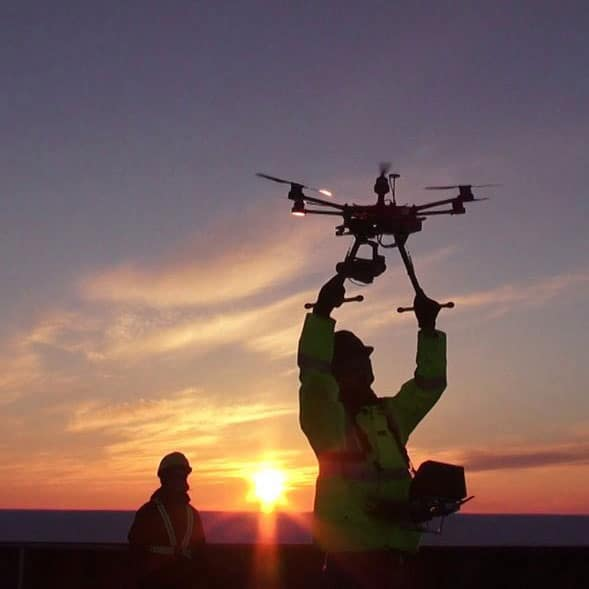 Person launching drone